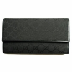 Gucci Black Canvas Checkbook Wallet