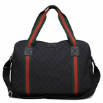 Gucci Black Canvas Diamante Green & Red Web Overnight Duffle Bag Carry-on Luggage 374769