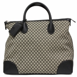 Gucci Black Diamante Canvas and Leather Travel Carry On Tote for Men 374226