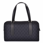 Gucci Black Denim and Leather GG Monogram Boston Bag 257288