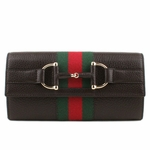 Gucci Black Leather Heritage Clutch 245753