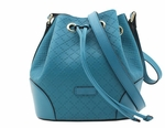 Gucci Bright Diamante Leather Bucket Bag Handbag 354229 Turquoise Blue