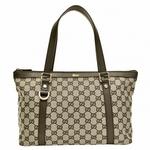 Gucci Brown Leather and Canvas D-Ring Abbey Tote Bag 272399