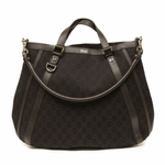 Gucci Brown Denim Abbey Convertible GG Monogram D Ring Tote Bag 268641