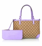 Gucci Lavender Leather and Original GG Canvas Craft Tote Bag 269878
