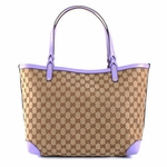 Gucci Lilac Leather and Traditional Canvas Craft Large Tote Bag 247209