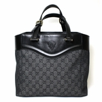 Gucci Black Leather and Canvas GG Monogram Crest Tote Bag 272398