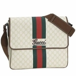 Gucci Cross Body Messenger Bag Beige GG Logo with Red Green Stripe