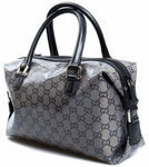 Gucci Black Leather and GG Logo Crystal Boston Bag 272375