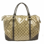 Gucci Brown Leather Crystal Boston Satchel Bag 336669