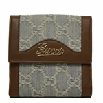 Gucci Denim and Leather GG Logo French Flap Wallet 295352
