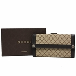 Gucci Diamante Canvas & Leather Continental Flap Wallet 231839, Brown