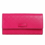 Gucci Diamante Hot Pink Leather Continental Flap Wallet 354486