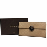 Gucci Diamante Leather Continental Flap Wallet 231835, Beige Cream