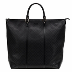 Gucci Diamante Leather Large Zip Top Unisex Tote Bag 308896, Black