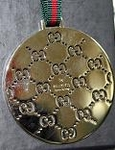 Gucci Disc Plate Small GG Interlocking Logos Charm Keychain