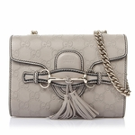 Gucci Emily Mini Guccissima Grey Leather Chain Shoulder Handbag 369622 with Horsebit Detail