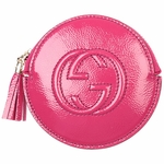 Gucci Fushia Pink Patent Leather Zip Coin Purse 337946 AB80G