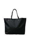 Gucci 'GG' Logo Large Nylon and Leather Tote Bag 211525, Black