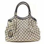 Gucci GG Logo Navy Blue Leather and Canvas Medium Sukey Tote Bag 211944