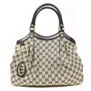 Gucci Logo Navy Blue Leather and Canvas Medium Sukey Bag 211944