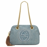 Gucci GG Soho Blue Denim Chain Tassel Shoulder Handbag 308983