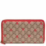Gucci GG Supreme Canvas and Leather Star Zip Around Wallet 321917