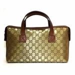 Gucci Gold Metallic Canvas and Brown Leather Small Boston Satchel Bag 264210