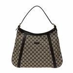 Gucci Gray Canvas and Black Leather Abbey Hobo Bag 282534