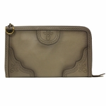 Gucci Gray Duilio Brogue Zip Around Oversized Leather Clutch Handbag Bag 296911