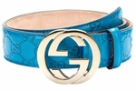 Gucci Guccissima Leather Interlocking G Buckle Belt, Blue 114876