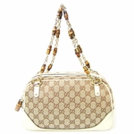 Gucci Handbag Zip Top Bamboo Chain Handle 169960 9761