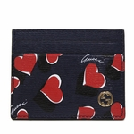 Gucci Heartbeat Navy Blue Leather Business Card Case Wallet 334483