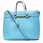 Gucci 320903 Horsebit Convertible Turquoise Large Leather Tote Bag