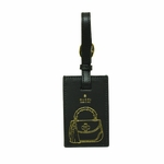 Gucci ID Tag Luggage Tag Bamboo Handbag Selleria Black Leather 316757