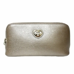 Gucci Interlocking GG Heart Pink Rose Gold Leather Zip Cosmetic Case Clutch 338190 AQY0G