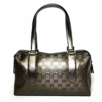 Gucci Joy Metallic Silver Imprime Leather Boston Bag 257289