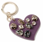 Gucci Key Ring with Swarovski Crystals Heart Charm Purple 354361