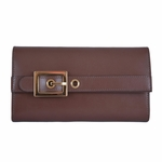 Gucci Lady Buckle Leather Continental Wallet 324233, Mauve Brown