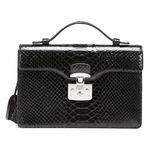 Gucci Lady Lock Black Python Leather Top Handle Bag 331823