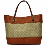Gucci Laidback Crafty Canvas and Orange Leather Bamboo Tote Bag 339000