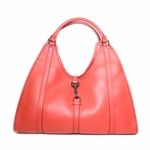 Gucci Large Bardot Tote in Coral Pebbled Leather 265698