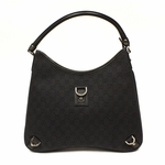 Gucci Large Black Denim D Ring Hobo Bag 268636