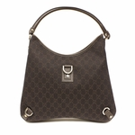 Gucci Large Brown Denim D Ring Hobo Bag 268636