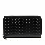 Gucci Leather Black Studded Zip Around Wallet 336465
