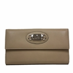 Gucci Leather Plaque Continental Flap Wallet 231841, Beige Tan
