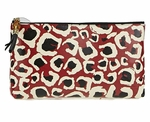 Gucci Leopard Print Bamboo Red & Black Leather Pouch Clutch 338815