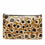 Gucci Leopard Print Camel & Black Leather Bamboo Pouch Clutch 338815