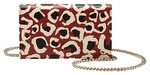 Gucci Leopard Print Red Leather Chain Crossbody Bag 354697