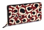 Gucci Leopard Red Black Interlocking GG Logo Leather Zip Around Wallet 309705